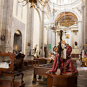 The nave of Iglesia de la Santisima Trinidad in Mexico City, Mexico. Iglesia de la Santisima Trinidad translates as Church of the Holy Trinity.