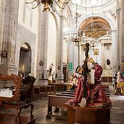The nave of Iglesia de la Santisima Trinidad in Mexico City, Mexico. Iglesia de la Santisima Trinidad translates as Church of the Holy Trinity.