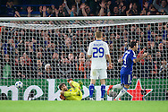Cesc Fabregas of Chelsea turns to celebrate after Baba Rahman scores the opening goal beating goalkeeper Oleksandr Shovkovskiy of Dynamo Kyiv during the UEFA Champions League match at Stamford Bridge, London<br /> Picture by Alan Stanford/Focus Images Ltd +44 7915 056117<br /> 04/11/2015