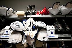 Equipment of Damjan Dervaric of Slovenia and Mitja Robar of Slovenia in Slovenian wardrobe prior to the ice-hockey match between Slovenia and Latvia of IIHF 2011 World Championship Slovakia, on May 5, 2011 in Orange Arena, Bratislava, Slovakia.  (Photo By Vid Ponikvar / Sportida.com)
