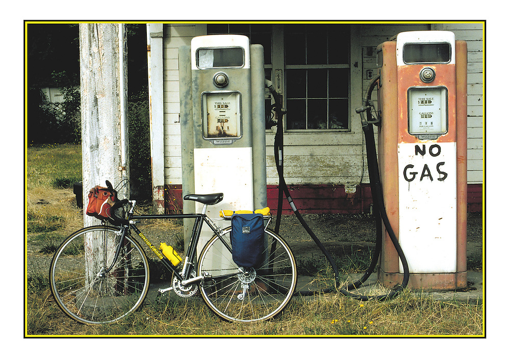"Bicycling Postcard - No Gas. Suitable for use on a 4.25"" x 6"" printed postcard."