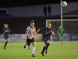 February 20, 2019 - Sheffield, United Kingdom - Sheffield United's Jade Pennock and Manchester United's Leah Galton both sprint for the same ball        during the  FA Women's Championship football match between Sheffield United Women and Manchester United Women at the Olympic Legacy Stadium, on February 20th Sheffield, England. (Credit Image: © Action Foto Sport/NurPhoto via ZUMA Press)