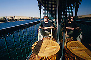 Nicole Schmidt enjoying the view over the Nile from her private balcony aboard the Oberoi Philae.