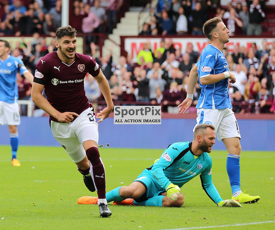 Hearts v St Johnstone Scottish Premiership 2 August 2015; Callum Paterson (Hearts, 2) scores during the Heart of Midlothian v St Johnstone Scottish Premiership match played at Tynecastle Stadium, Edinburgh; <br /> <br /> &copy; Chris McCluskie | SportPix.org.uk