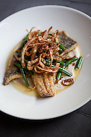 Cornmeal encrusted trout, roasted cauliflower,  green beans, crispy onions, herb butter photographed at The Block in St. Louis, Missouri.