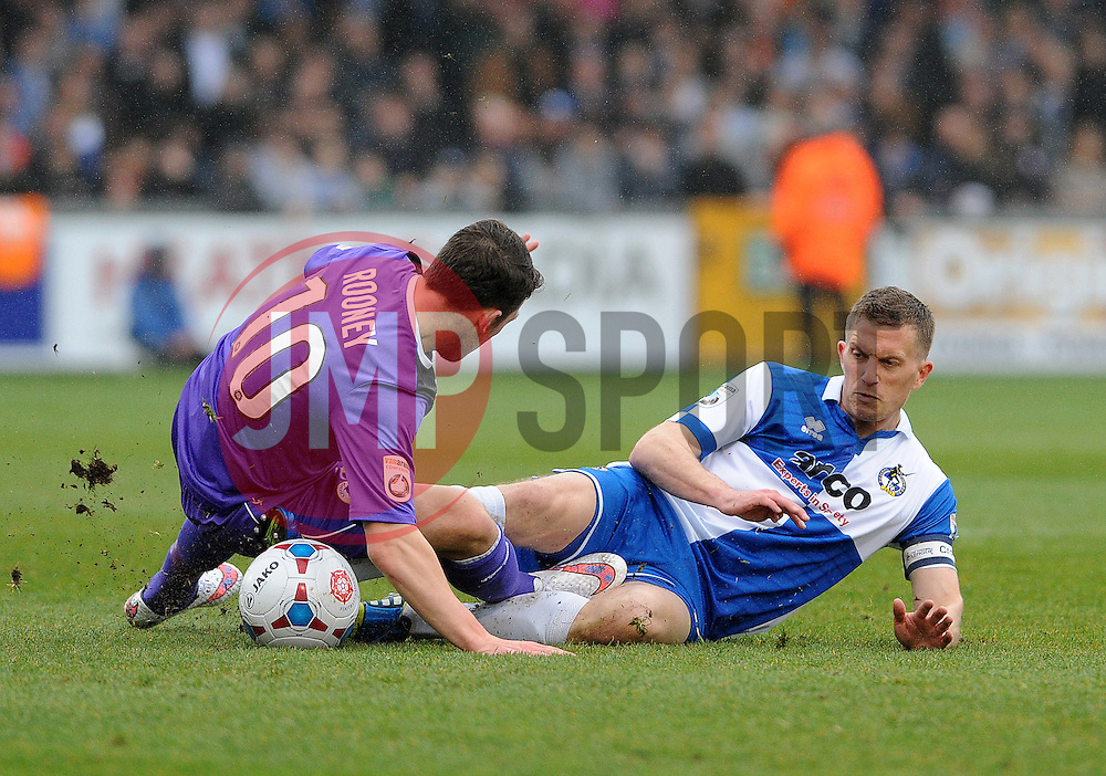 Bristol Rovers' Lee Mansell is challenged by Chester's John Rooney - Photo mandatory by-line: Neil Brookman/JMP - Mobile: 07966 386802 - 03/04/2015 - SPORT - Football - Bristol - Memorial Stadium - Bristol Rovers v Chester - Vanarama Football Conference