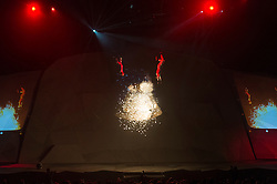 © Licensed to London News Pictures. 06/10/2016. Adventurer BEAR GRYLLS and his eleven year old son HucKLEBERRY GRYLLS presents his very first Endeavour live arena show featuring a cast of expert aerial artists, stunt crew and state of the art video mapping technology and stunning special effects. Please note this photo cannot be  published or used after Friday 28th October 2016.  London, UK. Photo credit: Ray Tang/LNP