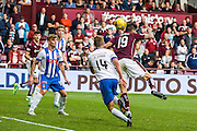 Hearts FC Forward Juanma Dalgado heading towards goal during the Ladbrokes Scottish Premiership match between Heart of Midlothian and Kilmarnock at Tynecastle Stadium, Gorgie, Scotland on 3 October 2015. Photo by Craig McAllister.