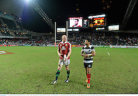 1 June 2013; Paul O'Connell, British & Irish Lions, and Casey Laulala, Barbarians, after the game. British & Irish Lions Tour 2013, Barbarians v British & Irish Lions, Hong Kong Stadium, So Kon Poh, Hong Kong, China. Picture credit: Stephen McCarthy / SPORTSFILE