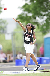 London, Ontario ---07/06/08--- Wumi Agunbiade of Dunbarton in Pickering competes in the shot put at the 2008 OFSAA Track and Field meet in Hamilton, Ontario..GEOFF ROBINS