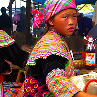 Flower Hmong girl at a rural market