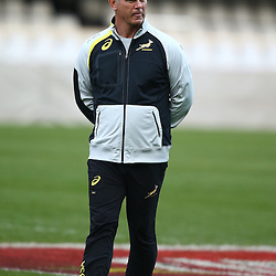 DURBAN, SOUTH AFRICA - AUGUST 07: Heyneke Meyer (Head Coach) of South Africa during the Springboks captains run at Growthpoint Kings Park on August 07, 2015 in Durban, South Africa. (Photo by Steve Haag/Gallo Images)