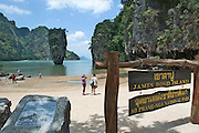 "James Bond Island at Phang Nga Bay. The strange limestone rock was the backdrop to ""The Man With The Golden Gun""."