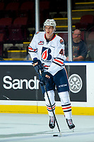 KELOWNA, CANADA - SEPTEMBER 22:  Joonas Sillanpaa #41 of the Kamloops Blazers warms up against the Kelowna Rockets on September 22, 2018 at Prospera Place in Kelowna, British Columbia, Canada.  (Photo by Marissa Baecker/Shoot the Breeze)  *** Local Caption ***