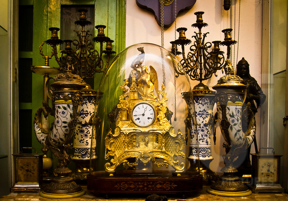 Old clocks at Cafe Junghans, Hanoi, Vietnam, Asia