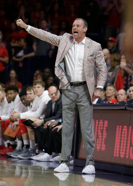 Utah head coach Larry Krystkowiak in the first half during an NCAA college basketball game against Arizona, Saturday, Jan. 27, 2018, in Tucson, Ariz. (AP Photo/Rick Scuteri)