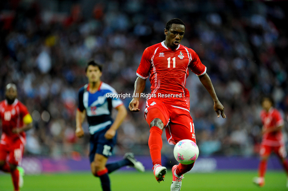 29.07.2012 London, England. UAE  Ahmed Khalil in action during the Olympic Football Men's Preliminary game between TeamGB and UAE  from Wembley Stadium. TeamGB won the match 3-1.