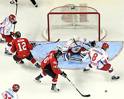 Tyler Toffoli of the Ottawa 67's chases a loose puck in front of the Russian net in Game 4 of the CHL's SUBWAY Super Series in Windsor, ON on Monday. Photo by Aaron Bell/OHL Images.