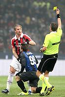 """arbitro Paolo Mazzoleni ammonisce Philippe Mexes Milan<br /> Milano 24/02/2013 Stadio """"San Siro""""<br /> Football Calcio Serie A 2012/13<br /> Inter v Milan<br /> Foto Insidefoto Paolo Nucci"""
