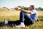 Democratic presidential nominee Jimmy Carter relaxes while awaiting his turn at bat at a softball game. The Secret Service team - captained by Jimmy Carter versus The Press team - captained by brother Billy Carter. The games were spirited and usually ended in a rout for the Carter/SS team. - To license this image, click on the shopping cart below -