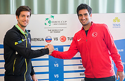 Aljaz Bedene of Slovenia and Mehmet Cem Ilkel of Turkey during Official Draw of Davis Cup 2018 Europe/Africa zone Group II between Slovenia and Turkey, on April 6, 2018 in Portoroz / Portorose, Slovenia. Photo by Vid Ponikvar / Sportida