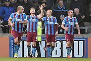 Paddy Madden of Scunthorpe United celebrates scoring his second goal to go 3-0 up during the Sky Bet League 1 match between Scunthorpe United and Colchester United at Glanford Park, Scunthorpe, England on 23 January 2016. Photo by Ian Lyall.
