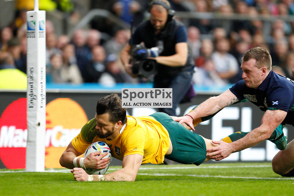 TWICKENHAM, ENGLAND - OCTOBER 18:  Adam Ashley-Coopers try that was disallowed during the 2015 Rugby World Cup quarter final between Scotland and Australia at Twickenham Stadium on October 18, 2015 in London, England. (Credit: SAM TODD | SportPix.org.uk)