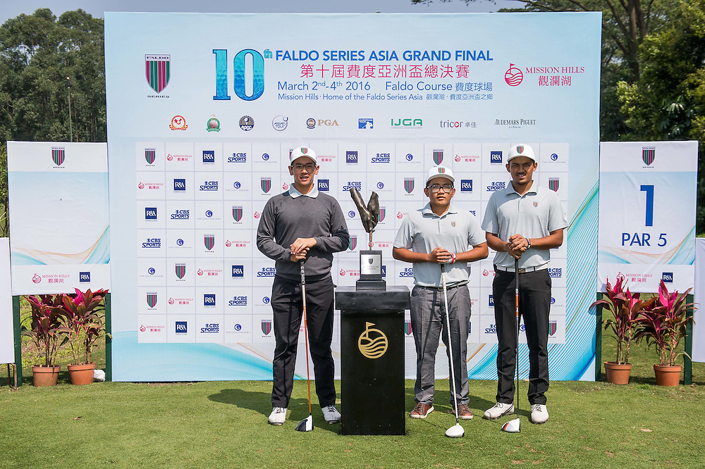 Shubhanm Narain of India, Truong Quan of Vietnam, Stevanus Daniel Wirawan Indonesia poses for a picture with the trophy during day one of the 10th Faldo Series Asia Grand Final at Faldo course in Shenzhen, China. Photo by Xaume Olleros.