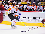 Dec. 3 2011; Glendale, AZ, USA; Philadelphia Flyers defensemen Kimmo Timonen (44) handles the puck while playing against the Phoenix Coyotes during the second period at Jobing.com Arena. The Flyers defeated the Coyotes 4-2. Mandatory Credit: Jennifer Stewart-US PRESSWIRE.