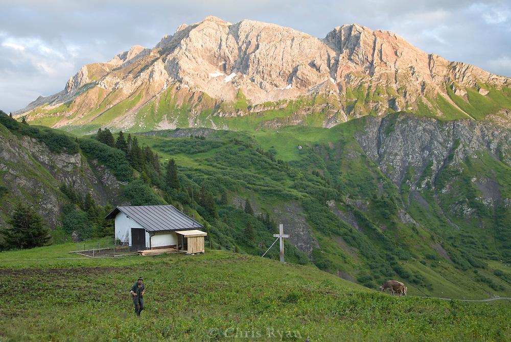 Farmer at dusk in the west Austrian Alps