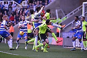 Goalmouth scramble during the Sky Bet Championship match between Reading and Brighton and Hove Albion at the Madejski Stadium, Reading, England on 31 October 2015. Photo by Mark Davies.