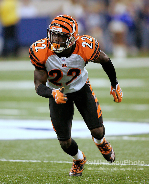 Cincinnati rookie cornerback Johnathan Joseph seen during action against Indianapolis at the RCA Dome in Indianapolis, Indiana on September 1, 2006. The Cincinatti Bengals defeated the Indianapolis Colts 20-3.
