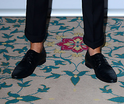 Harry Derbidge (shoe detail) attends Out In The City and g3 Readers' Awards, second annual awards thrown by gay magazines g3 and Out In The City, recognising outstanding individuals, companies and groups in the field of LGBT equality, at The Landmark Hotel,  London, United Kingdom. Friday, 25th April 2014. Picture by Nils Jorgensen / i-Images