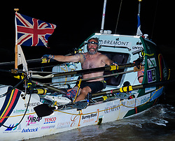 © Licensed to London News Pictures. 11/03/2019.  Briton Lee Spencer, a 49 year-old single leg amputee, has beaten the able-bodied World Record for rowing solo across the Atlantic, in his boat - Hope - from mainland Europe to mainland South America, by 36 days. By reaching Cayenne, French Guiana he has become the world's first physically disabled person to do the crossing and completed it in 60 days, leaving Portimao, Portugal, less than two months ago. Lee undertook the row to demonstrate that no-one should be labelled or defined by their disabilities whilst also raising money for the Endeavour Fund and The Royal Marines Charity. Photo credit: Anthony Upton/LNP<br /> <br /> For further info please contact<br /> Isobel@isobelcamier.com<br /> +447813 213274