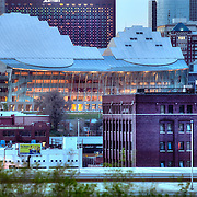 Close up of downtown Kansas City's Kauffman Center for the Performing Arts in the evening, view from Penn Valley Park.