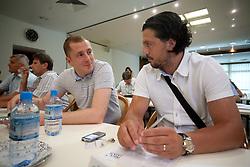 Sanel Konjevic of NK Olimpija and Zlatko Zahovic of NK Maribor at  PrvaLiga draw before new football season 2011/2012 in Slovenia, on June 23, 2011, in Hotel Kokra, Brdo pri Kranju, Slovenia. (Photo by Vid Ponikvar / Sportida)