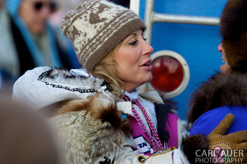 March 7th, 2009:  Anchorage, Alaska - Cancer survivor DeeDee Jonrowe talks to fans prior to the start of the 2009 Iditarod Sled Dog Race.