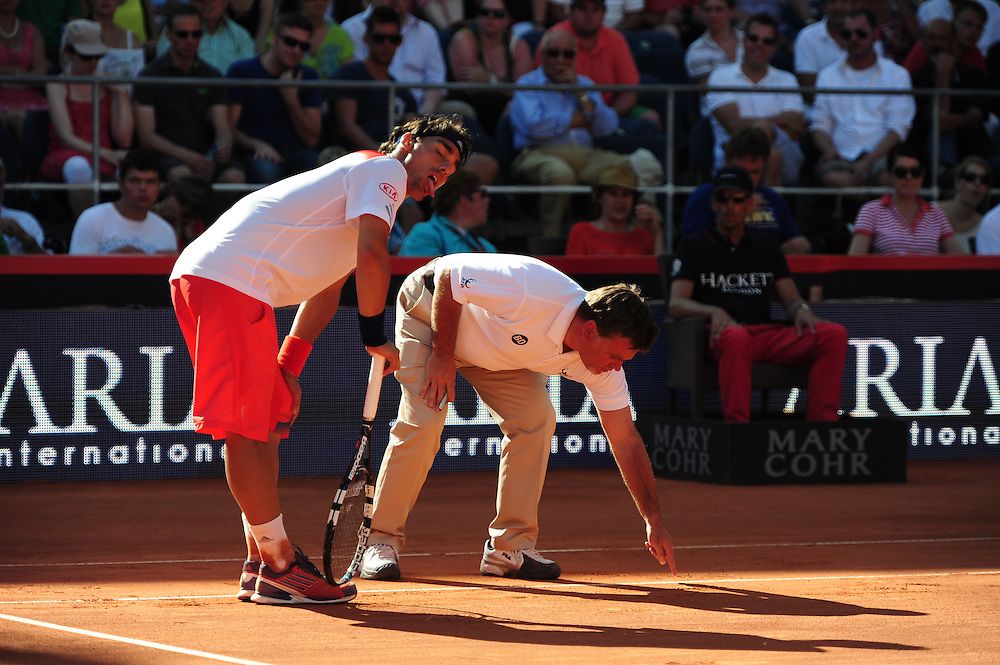 Fabio Fognini (ITA) arguing with the umpire during the final of the Bet-At-Home Open at Rothenbaum in Hamburg, Germany, July 21, 2013. Photo: Miroslav Dakov