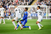 Leicester City midfielder Demarai Gray (7) spreads the play during the Premier League match between Leicester City and Burnley at the King Power Stadium, Leicester, England on 10 November 2018.