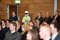 27/01/2014<br /> Frank Byrnes Autobody repairs' THE STIG   at the SCCUL enterprise awards EXPO at the bailey Allen in NUIG<br /> Photo:Andrew Downes