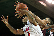 DALLAS, TX - FEBRUARY 6: Markus Kennedy #5 of the SMU Mustangs is fouled by Devontae Watson #23 of the Temple Owls on February 6, 2014 at Moody Coliseum in Dallas, Texas.  (Photo by Cooper Neill) *** Local Caption *** Markus Kennedy