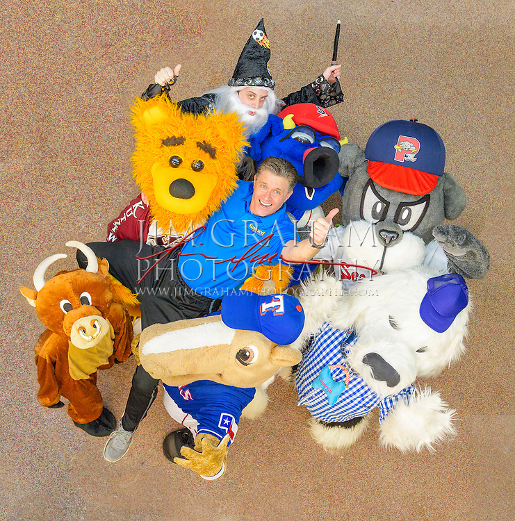 David Raymond together with his student mascots at Mascot Bootcamp in Kutztown, PA, 8 April 2016. Photograph by Jim Graham