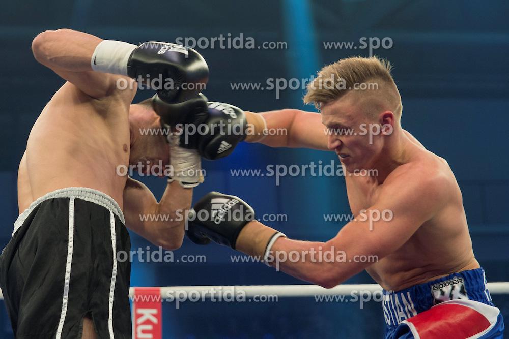 12.03.2016, Jahnsportforum, Neubrandenburg, GER, Boxgala, WBA Weltmeisterschaftskampf, im Bild v.l. Sebastian Formella (Germany) vs Frank Radnil (Croatia) // during the WBA Light Heavyweight World Championship Boxgala at the Jahnsportforum in Neubrandenburg, Germany on 2016/03/12. EXPA Pictures &copy; 2016, PhotoCredit: EXPA/ Eibner-Pressefoto/ Koch<br /> <br /> *****ATTENTION - OUT of GER*****