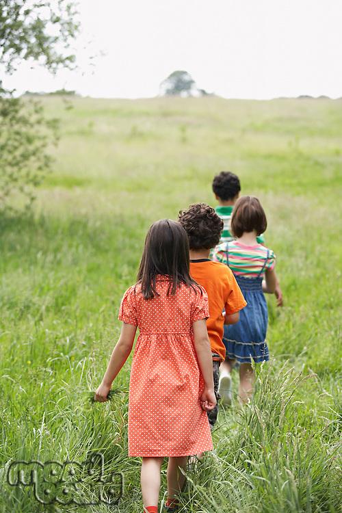 Children (7-9) walking in field