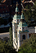 Cathedral of St Nicholas with its two towers. Aerial photo. Ljubljana. Slovenia. Eastern Europe.