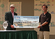 2007 Boyne Tournament of Champions winner Michael Harris accepts the winners check from Boyne Resorts director of eastern operations Steve Kircher.