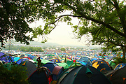 Tents in a campsite, Glastonbury festival, 2005