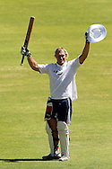 Schalk Burger celebrates his century during the Pick and Pay Newlands Challenge T20 cricket match between the DHL Stormers and The Cape Cobras held at Newlands Cricket Stadium in Newlands, Cape Town, South Africa on the 19th February 2012..Photo by Ron Gaunt/SPORTZPICS