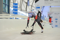 February 23, 2019 - Calgary, Alberta, Canada - Mirela Rahnev (Canada) competes during BMW IBSF SKELETON WORLD CUP Calgary Canada 23.02.2019 (Credit Image: © Russian Look via ZUMA Wire)