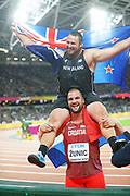 Thomas Walsh, New Zealand, is carried by Stipe Zunic, Croatia, after shot put final during the IAAF World Championships at the London Stadium, London, England on 6 August 2017. Photo by Myriam Cawston.